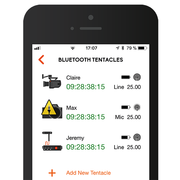 This Infographic shows the Screen of our Tentacle Setup App - Smart Timecode Generator with Bluetooth Connectivity - Syncing Simplicity